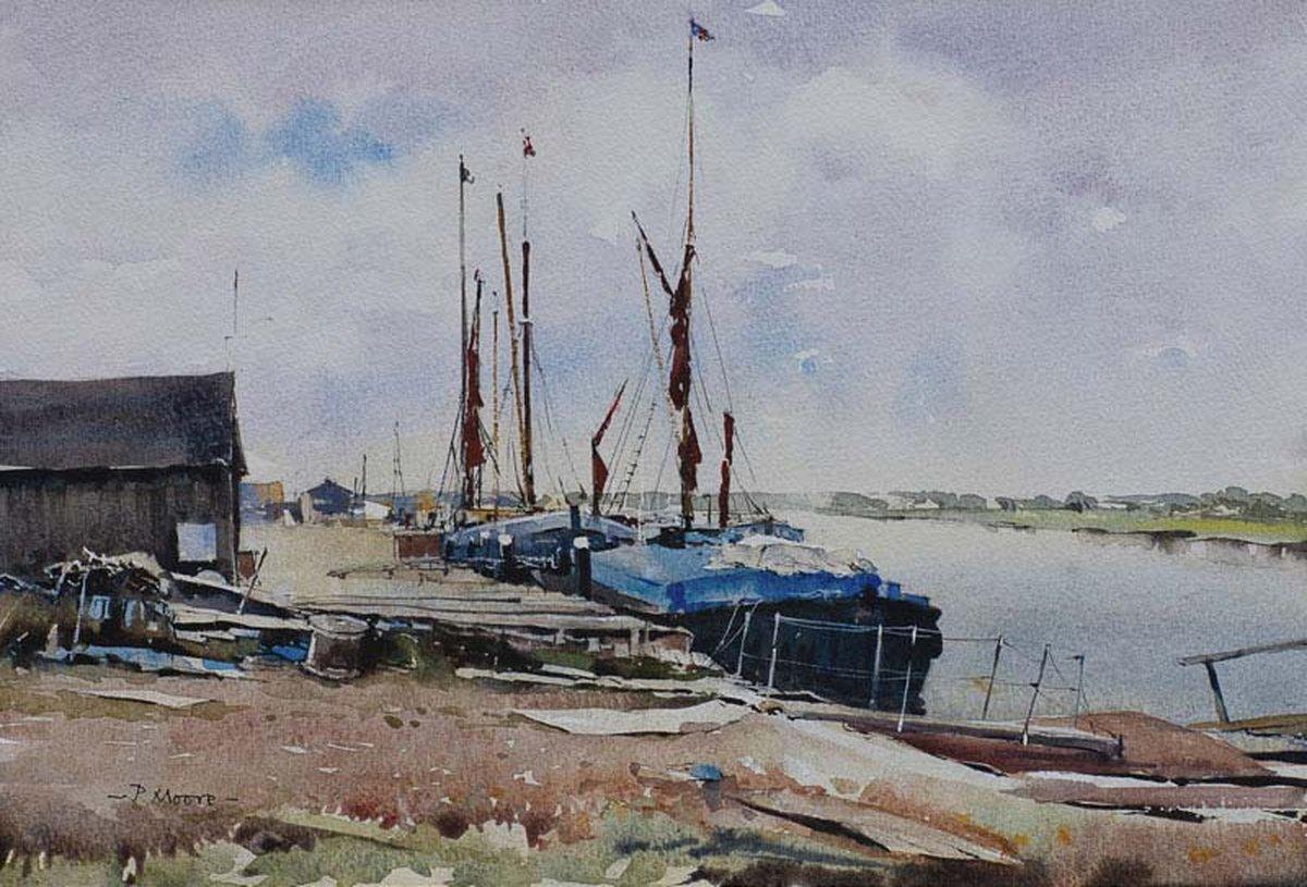 image showing Boatyard at Maldon: Watercolour