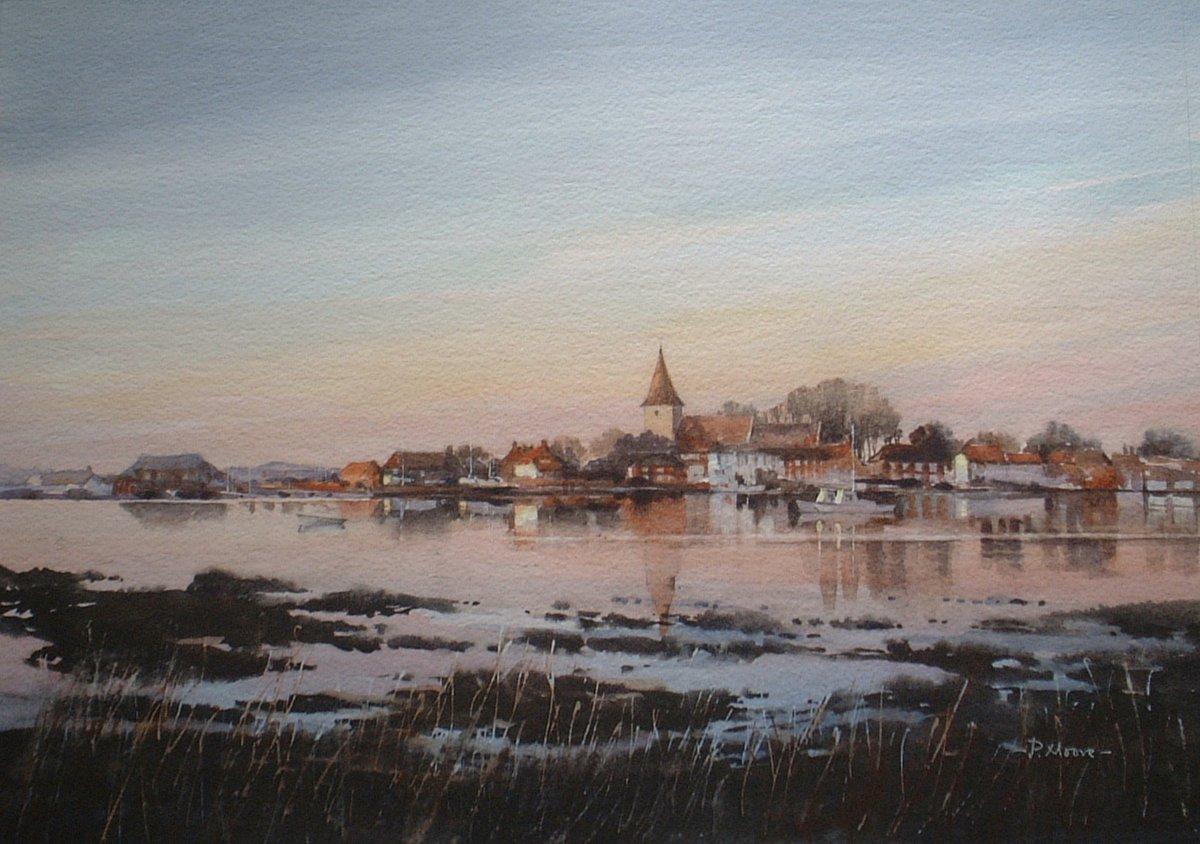 image showing Bosham Sunset:  Watercolour