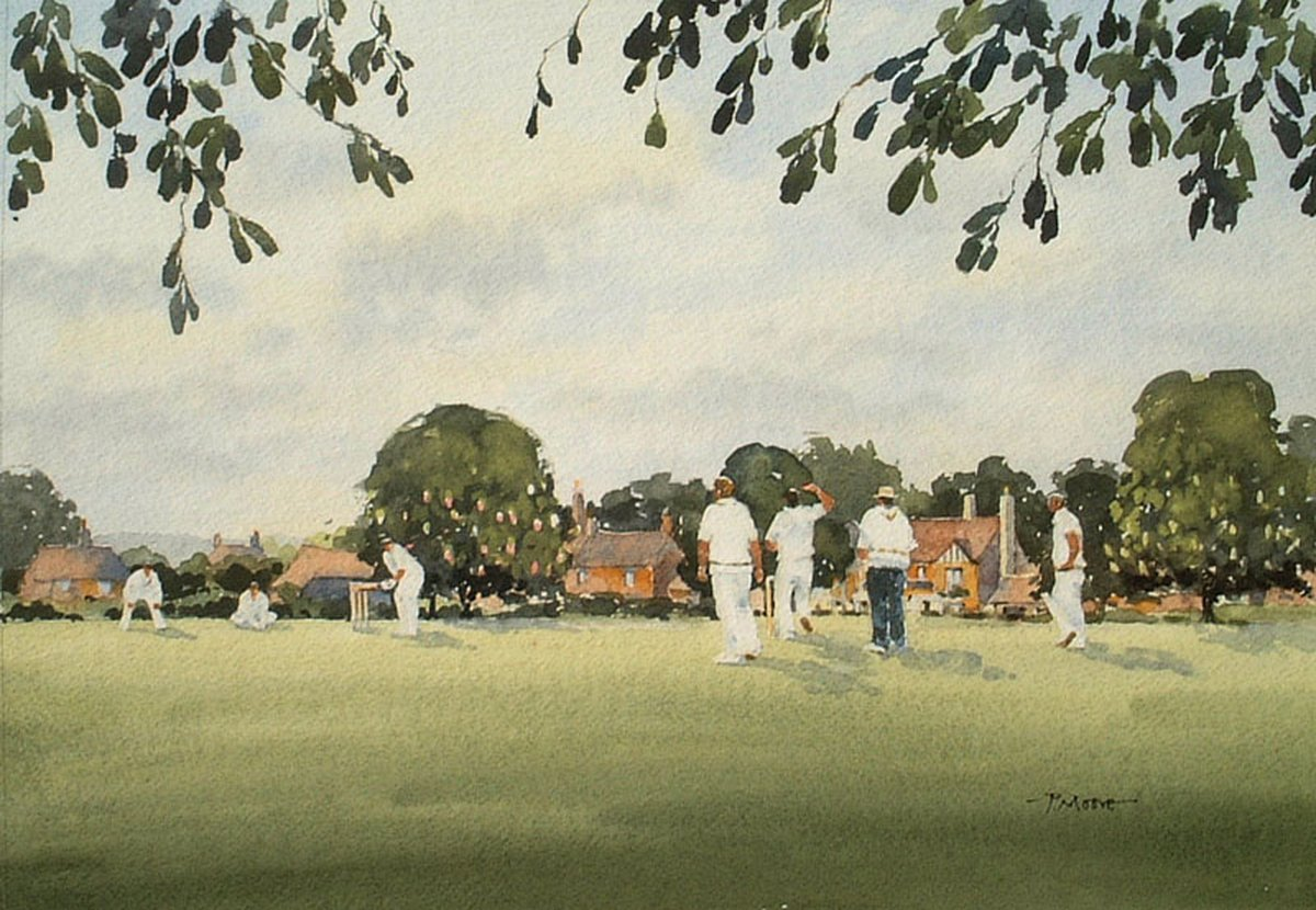 image showing Cricket on the Green: Watercolour