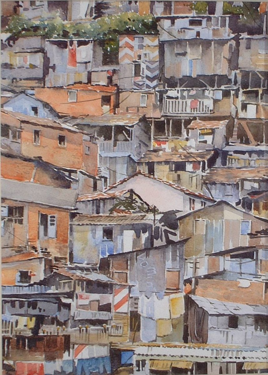 image showing Favela, Rio:  Watercolour