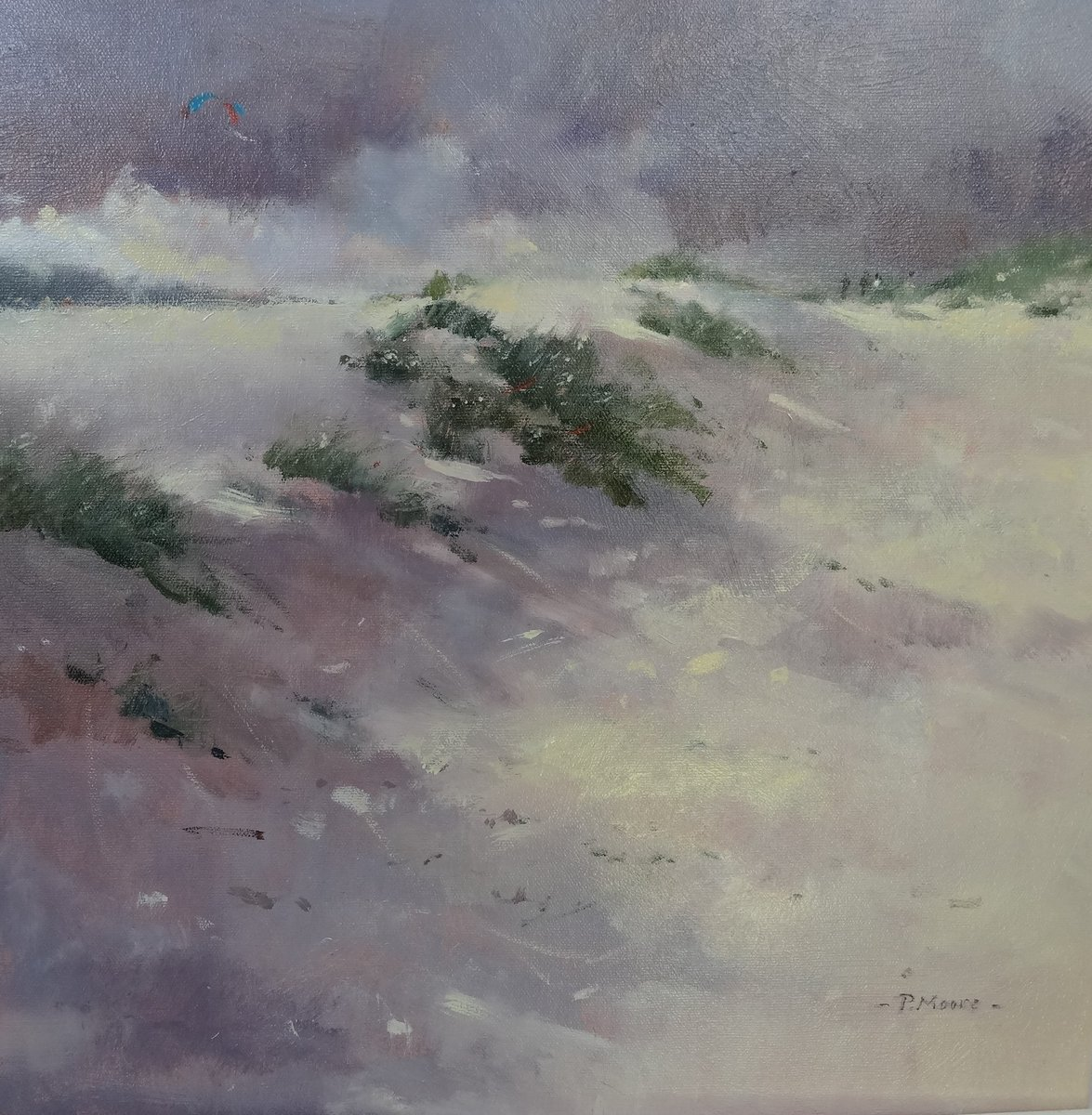 image showing Kite Flying on the Dunes:  Oil on Canvas