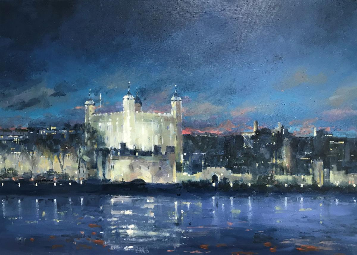 image showing London Nights - Tower of London:  Oil on Canvas