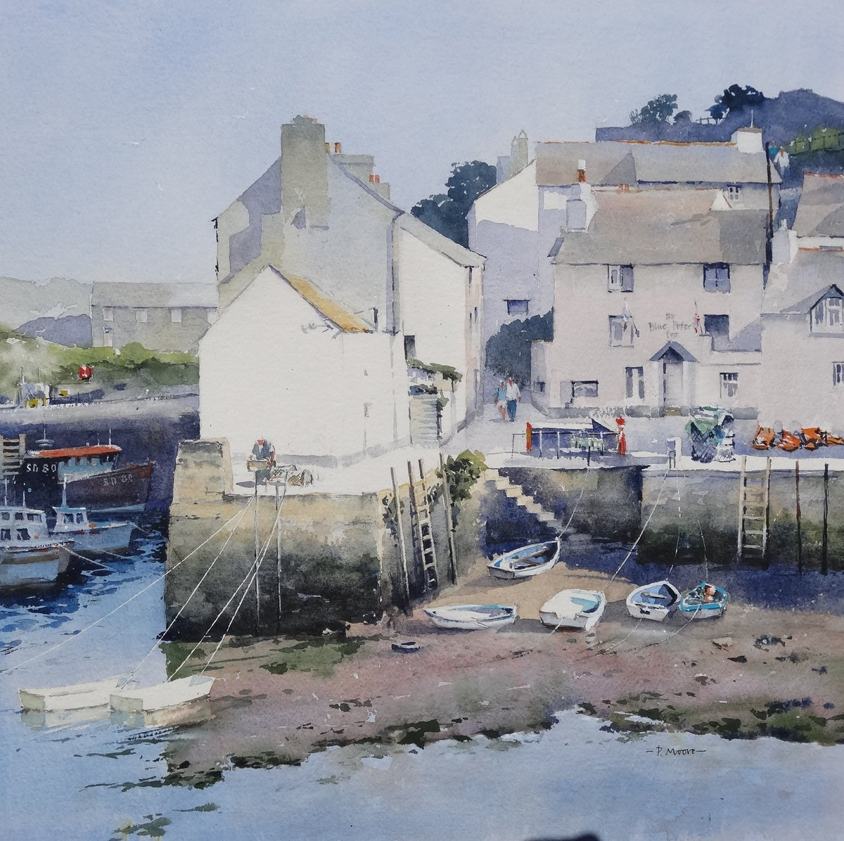 image showing Low Tide at Polperro: Watercolour