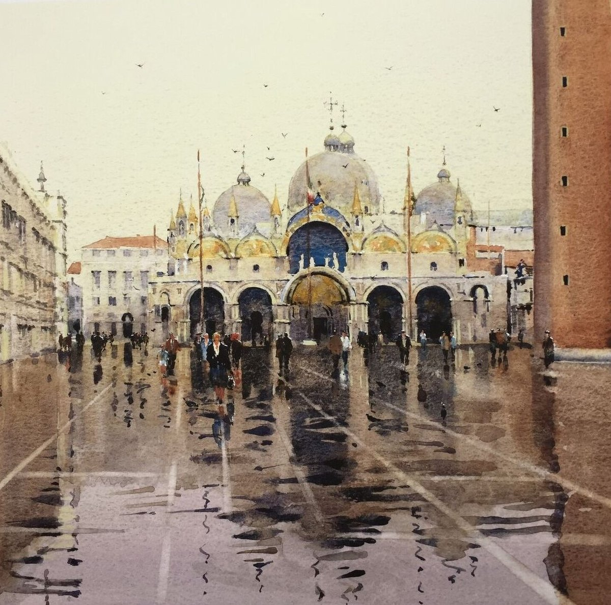 image showing Piazza San Marco in the Rain: Watercolour