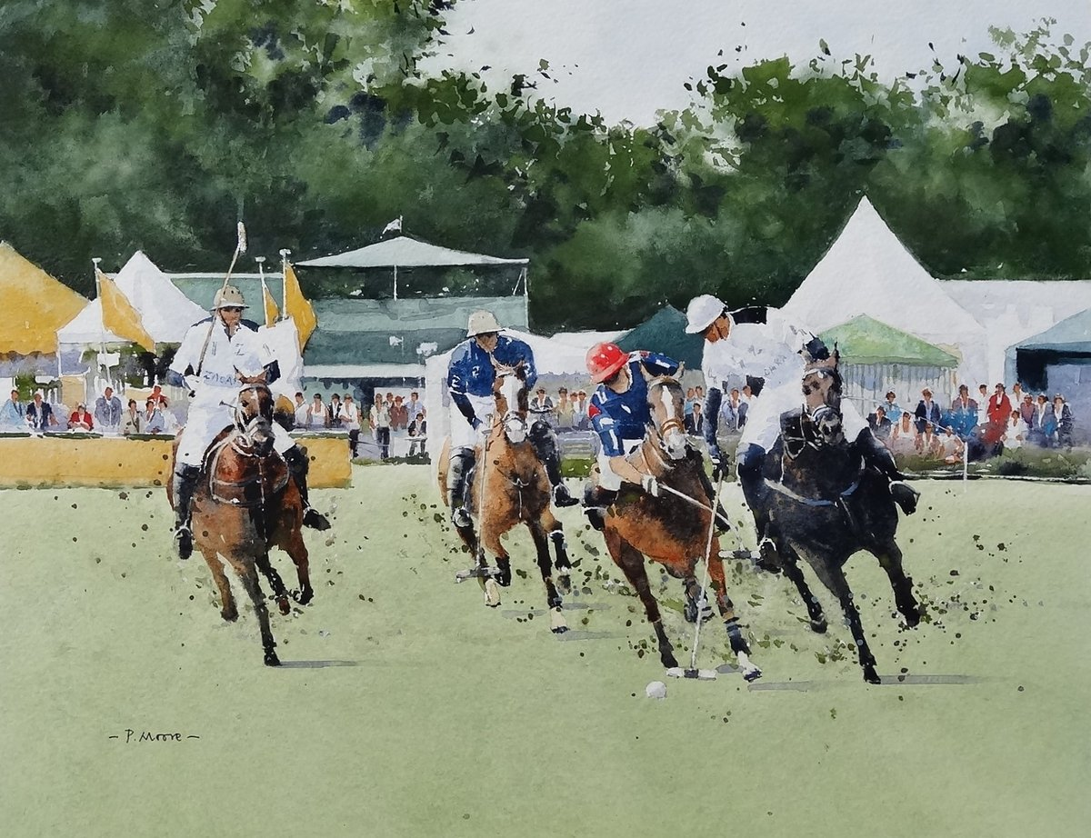 image showing Polo at Cowdray:  Watercolour
