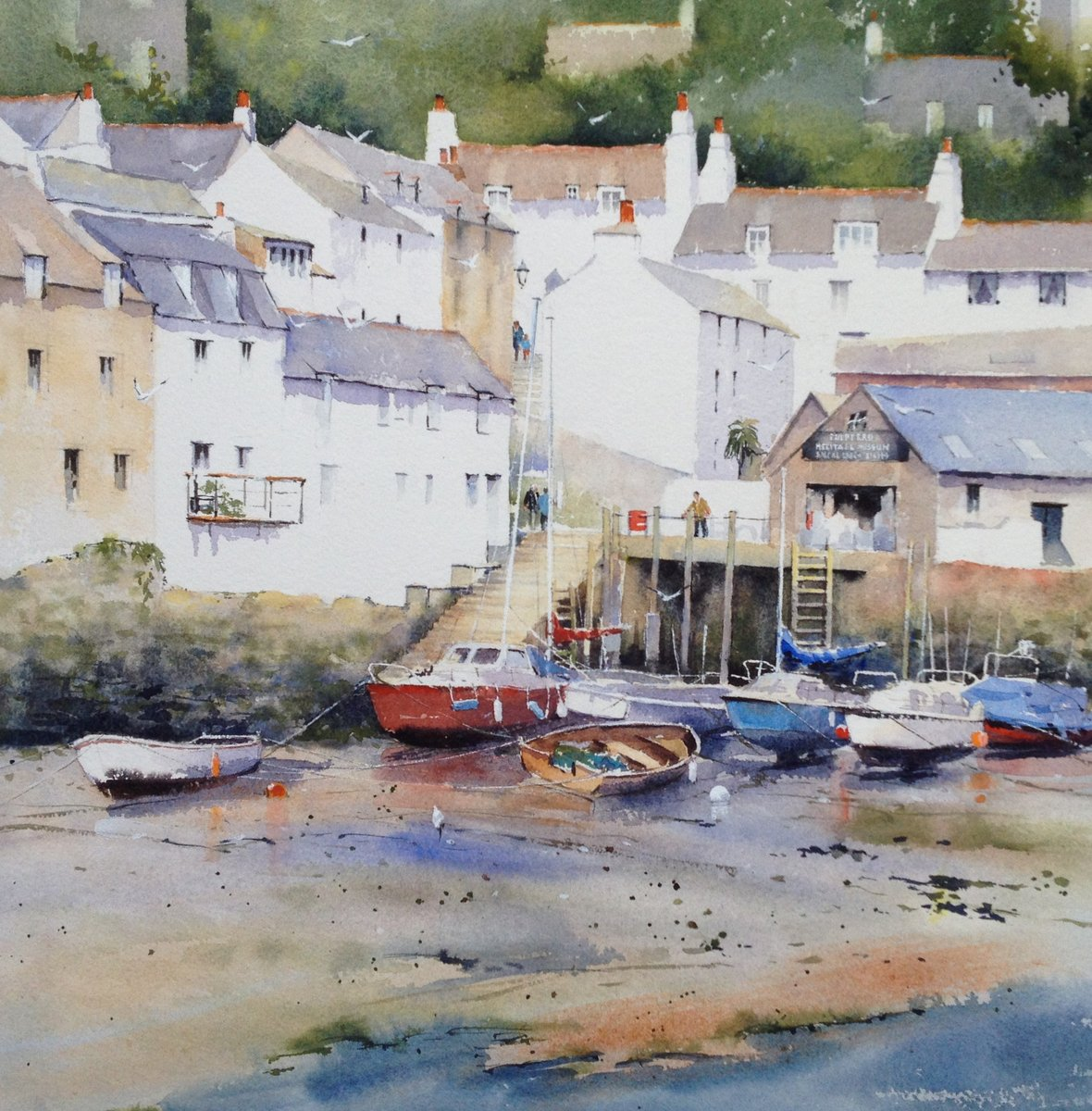 image showing Polperro Harbour:  Watercolour