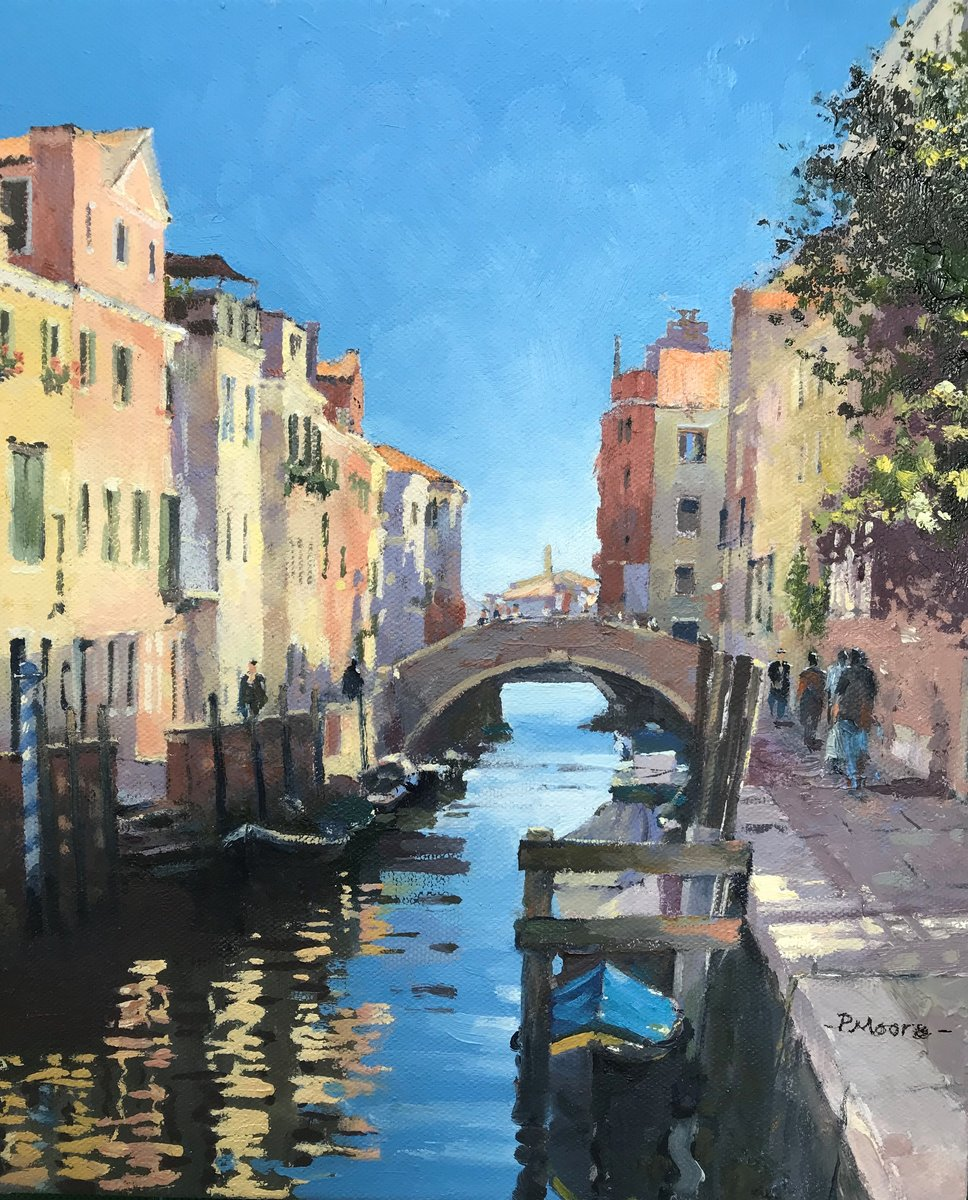 image showing Quiet Canal in Venice:  Oil on Canvas