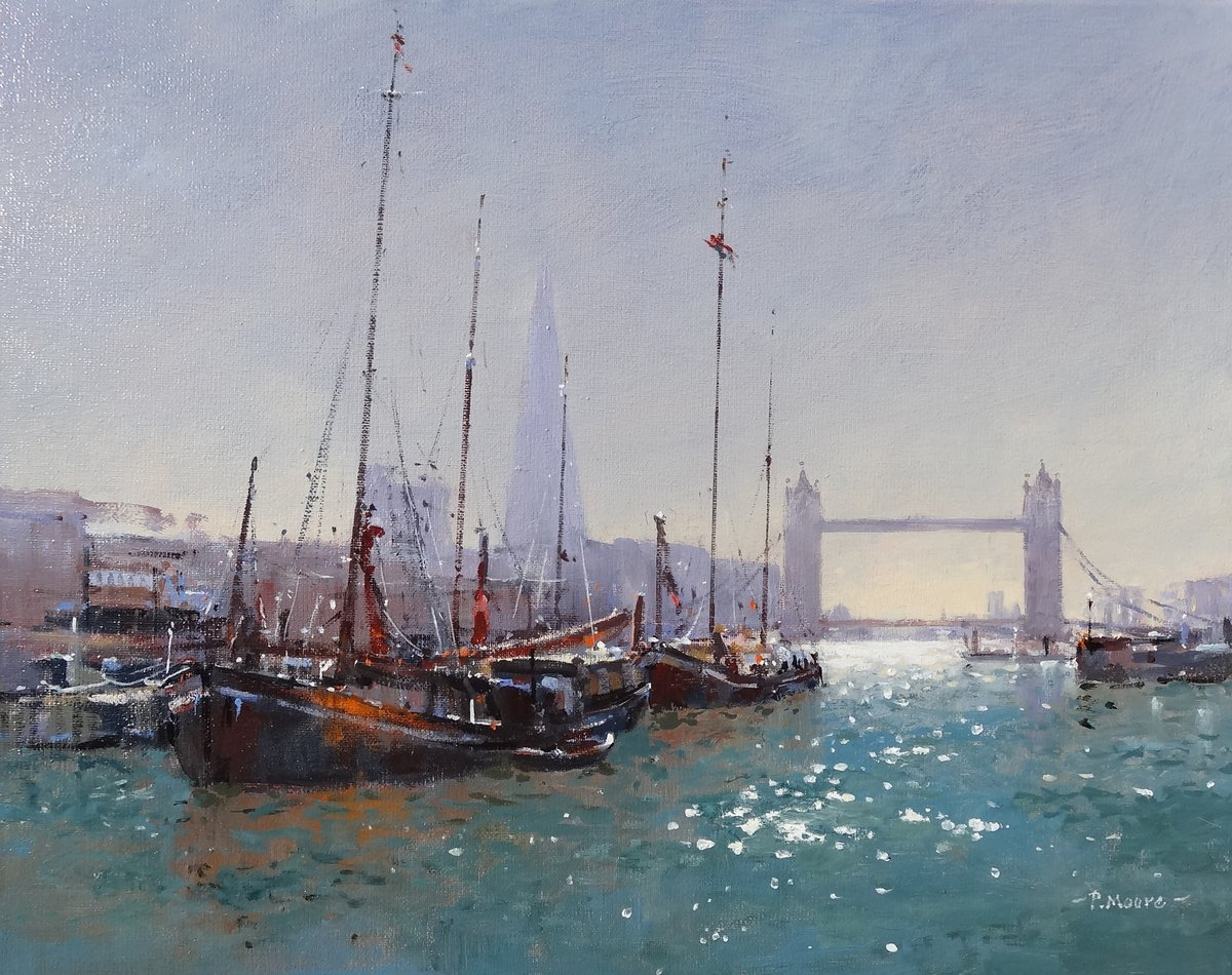 image showing Thames Barges on The Thames. Oil on Canvas