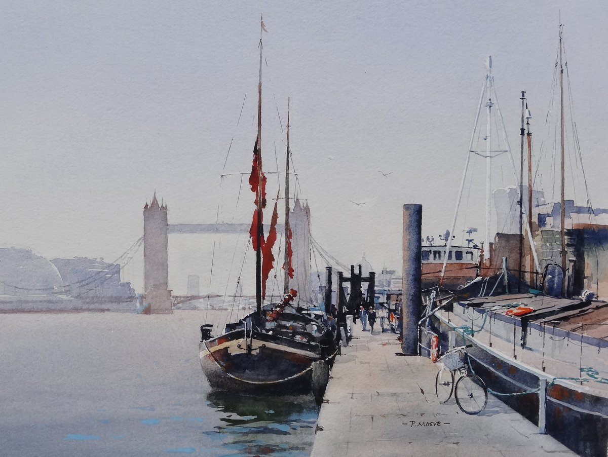 image showing Thames Pontoon:  Watercolour