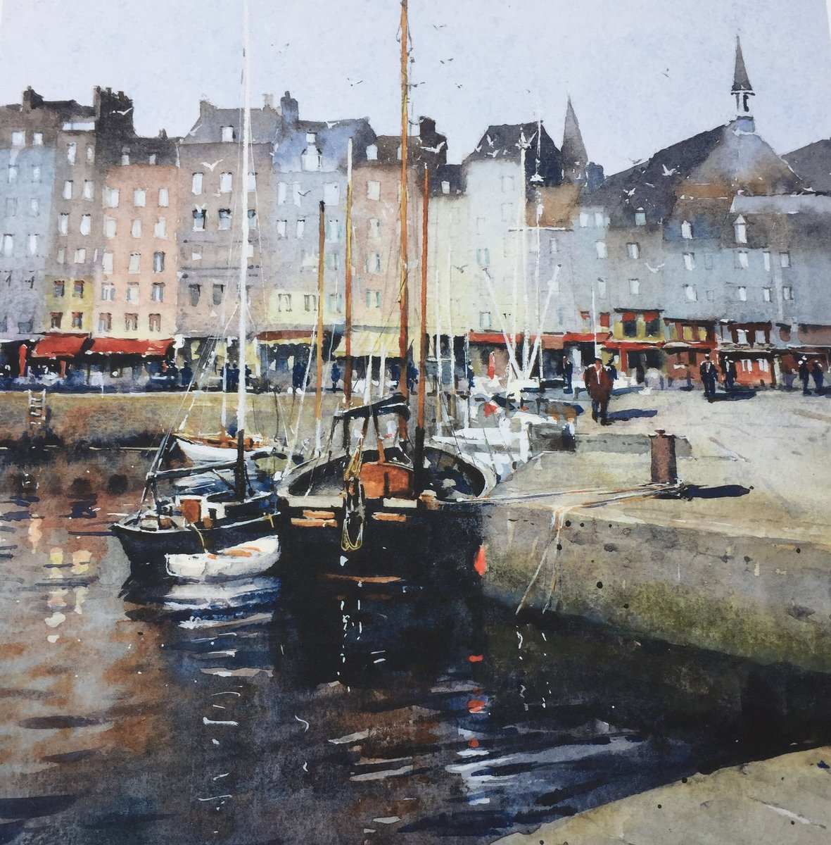 image showing The Old Harbour, Honfleur: Watercolour