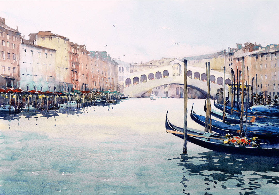image showing Rialto Bridge:   Watercolour