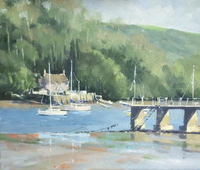 image showing The River Dart at Dittisham: Oil on Canvas